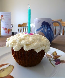 Carrot Cake Muffins with Creamy Coconut Icing (SCD, Dessert)