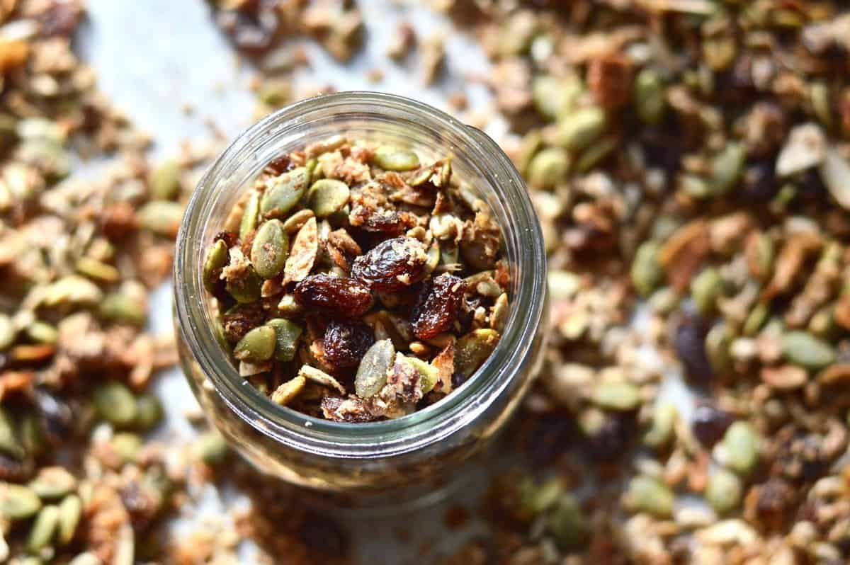 A glass jar full of paleo granola