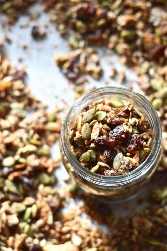An overhead shot of a jar of gluten free granola