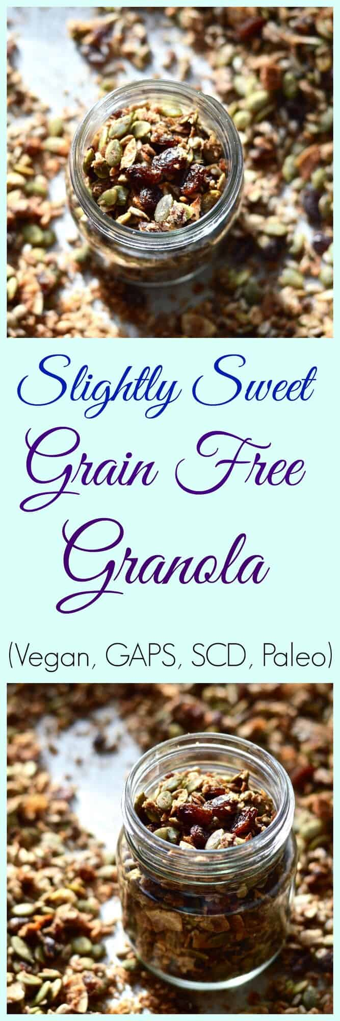 Slightly sweet grain free granola is the perfect simple, healthy gluten free granola. It's Whole30 and paleo and made with no sugar. Sweetened with dates, coconut and fruit you can snack on this vegan granola all day. #granola #glutenfree #grainfree #paleo