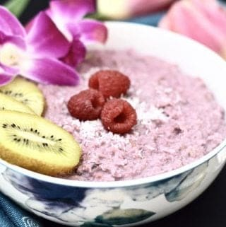 Paleo Raspberry Coconut Oatmeal (Grain Free, Gluten Free, AIP, GAPS, Whole 30, SCD, Low FODMAP, Vegan)