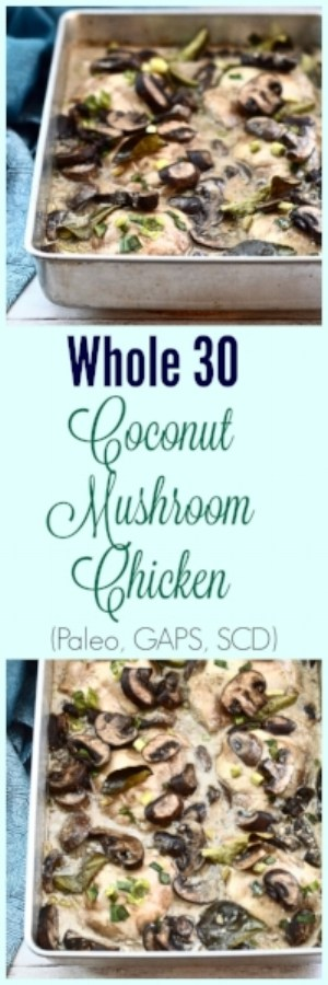 Coconut Mushroom Chicken is the perfect weeknight dinner idea. This simple chicken dish is Whole30, paleo, GAPS and SCD friendly. Perfect for those cold fall nights.#chicken #mushroom #whole30 #paleo #dinner #gaps #scd