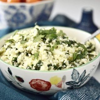 Whole30 Cilantro Lime Cauliflower Rice (Paleo, Vegan, GAPS, Gluten Free, Grain Free)