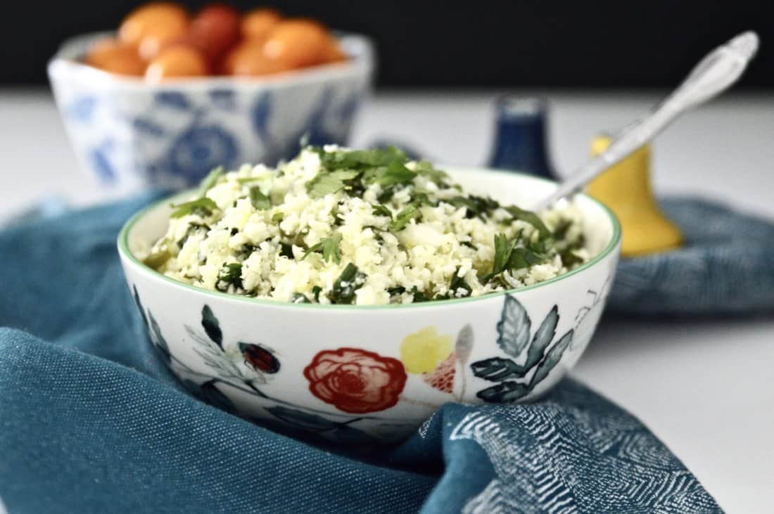 A large bowl of cilantro lime cauliflower rice