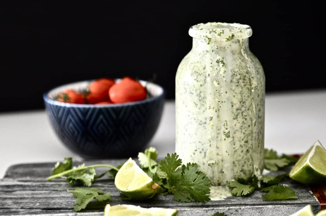 A bottle of Whole30 Cilantro Lime Dressing