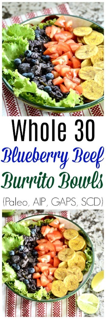 Whole30 Beef and Blueberry Burrito Bowls are quickly going to become your favourite weeknight dinner. Not only are these Whole30 Beef and Blueberry Burrito Bowls so easy to make, but they taste amazing! You can top them with all sorts of different things to make the perfect paleo and kid friendly meal. #whole30 #burrito #taco #beef #dinner #paleo #gaps #aip #scd