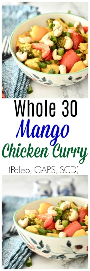 This Whole30 Chicken Curry with Mango is soon to become a Whole30 dinner favourite. Bursting with flavour and loaded with vegetables this paleo chicken curry dinner is not only so easy to make but tastes amazing. If you are looking for a quick Whole30 dinner recipe, this Whole 30 Chicken Curry with Mango must be on your next dinner menu. #whole30 #curry #chicken #mango #paleo #dinner #scd #gaps