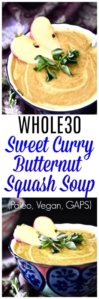 This Whole30 Curry Butternut Squash Soup is so simple to make and bursting with flavour. This paleo butternut squash soup recipe is the perfect fall side dish that will have you coming back for seconds and thirds. This Whole30 Curry Butternut Squash Soup is going to become a go-to easy paleo butternut squash soup recipe for those busy week nights when you don't want to be slaving away in the kitchen. #whole30 #soup #butternutsquash #squash #paleo #sidedish #vegan #gaps