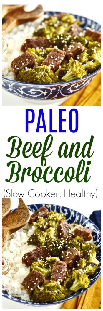 This Slow Cooker Beef and Broccoli is so easy to make and tastes amazing!  You can make this easy beef and broccoli in your slow cooker or Crockpot for the perfect weeknight meal. This slow cooker beef and broccoli is also paleo and gluten free! #slowcooker #easy #dinner #paleo #beef #broccoli