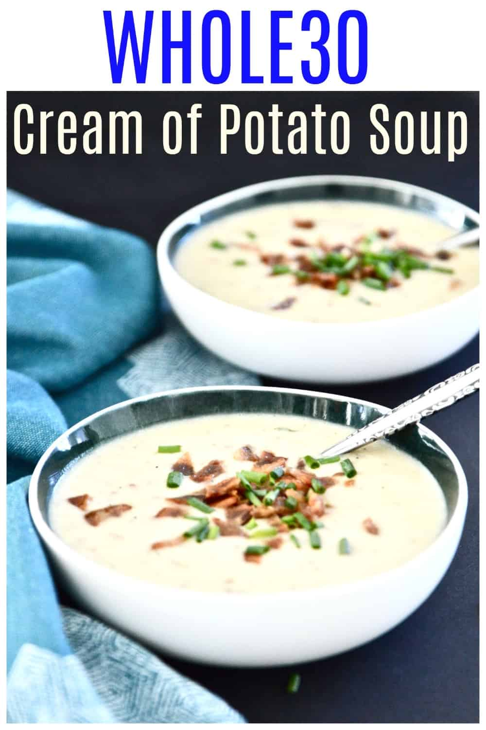 This Whole30 Cream of Potato Soup is the ultimate in comfort food. Perfect for cold winter days and nights this Whole30 Cream of Potato Soup is sure to be a hit with your whole family. This Whole30 Cream of Potato Soup tastes so good you won't even be able to tell it's dairy free. Promise. #whole30 #soup #potato #creamofpotato #paleo #sidedish