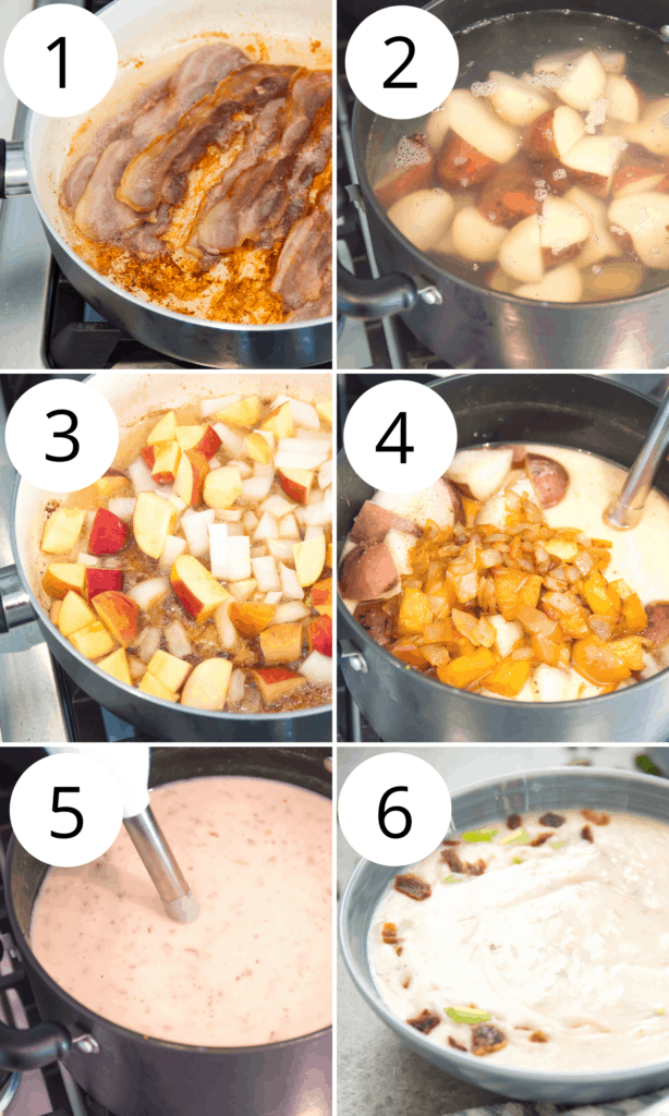 step by step directions for making dairy free potato soup