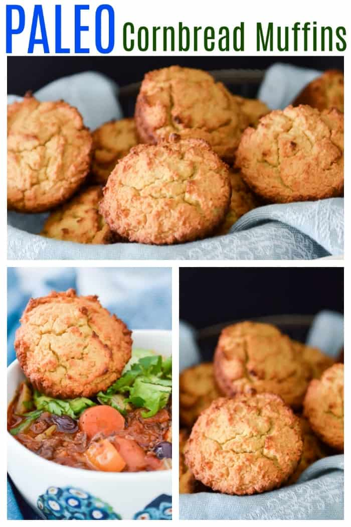 Paleo Cornbread Muffins. While these cornbread muffins don't actually contain any corn, they are still very tasty. These grain free cornbread muffins are the perfect pairing to your favourite chili or stew. They also make the perfect breakfast or snack.#muffin #cornbread #paleo #grainfree #glutenfree #breakfast