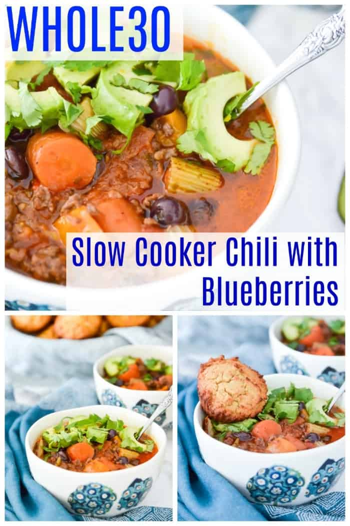Paleo chili with blueberries is going to become your new favourite dinner. Not only is this slow cooker paleo chili with blueberries packed with flavour, it's also loaded with vegetables so it is so, so healthy. Because it's made in the slow cooker or crockpot this paleo chili with blueberries is also really easy to make. Your whole family is going to love it. #paleo #whole30 #chili #slowcooker #instantpot #dinner
