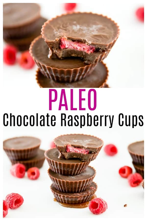 Paleo Chocolate Raspberry Cups. These chocolate raspberry cups are not only delicious, but they are also so simple to make. Plus, these chocolate raspberry cups are refined sugar free, dairy free and vegan. #chocolate #paleo #dairyfree #vegan #raspberry