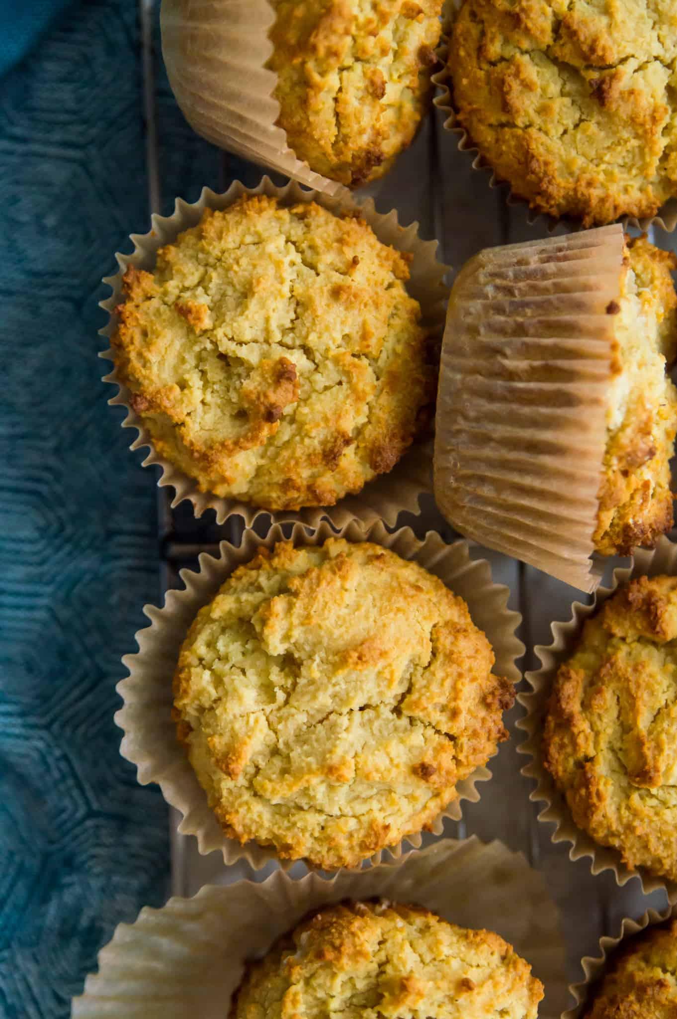 Paleo cornbread muffins on a wire rack