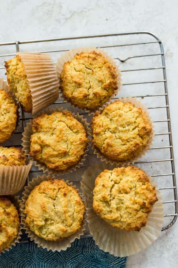 A rack of paleo cornbread muffins