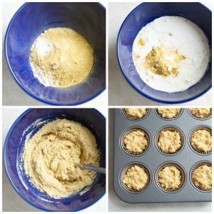 Step by step directions for making paleo cornbread muffins
