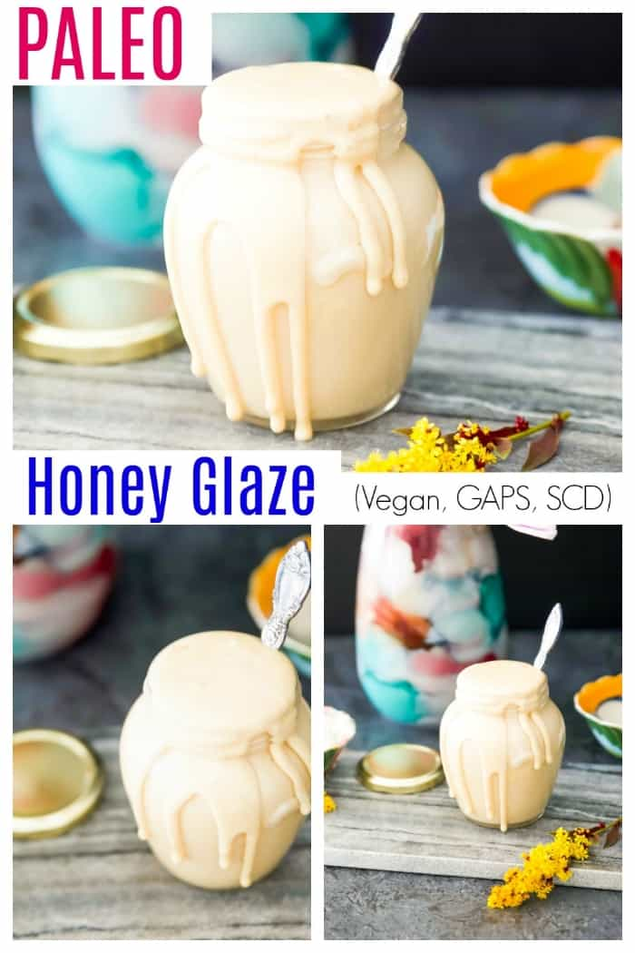 This Paleo Honey Glaze is going to become a new favourite in your kitchen. Keep this honey glaze on hand to top dessert recipes or to simply eat by the spoonful. Made without any refined sugars this vegan glaze is a healthier alternative to many other icing and glaze recipes. #vegan #paleo #glaze #icing #scd #easy