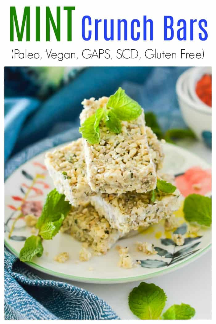Are you looking for the perfect snack? If so, these Paleo Mint Crunch Bars are for you. These vegan mint bars have the perfect combination of crunchiness and sweetness to satisfy all of your snack or dessert cravings. These crunch bars are also GAPS and SCD safe. #snack #paleo #mint #crunch #bars #gaps #scd