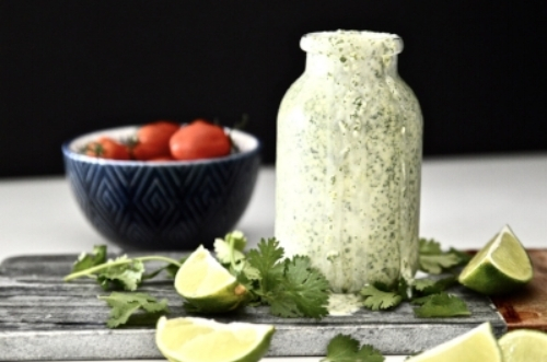 Whole30 Cilantro Lime Dressing makes the perfect easy Whole30 dressing recipe. Use this Whole30 dressing to add flavour to your favourite salads. You can also use this paleo dressing as a dip or as a way to add flavour to fish and meat dishes.
