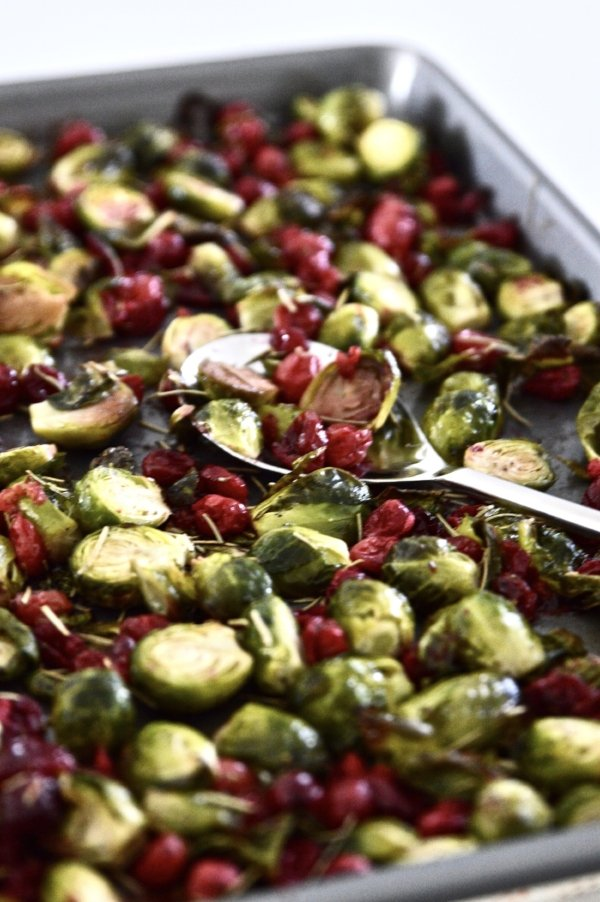 A tray of roasted Brussels sprouts and cranberries