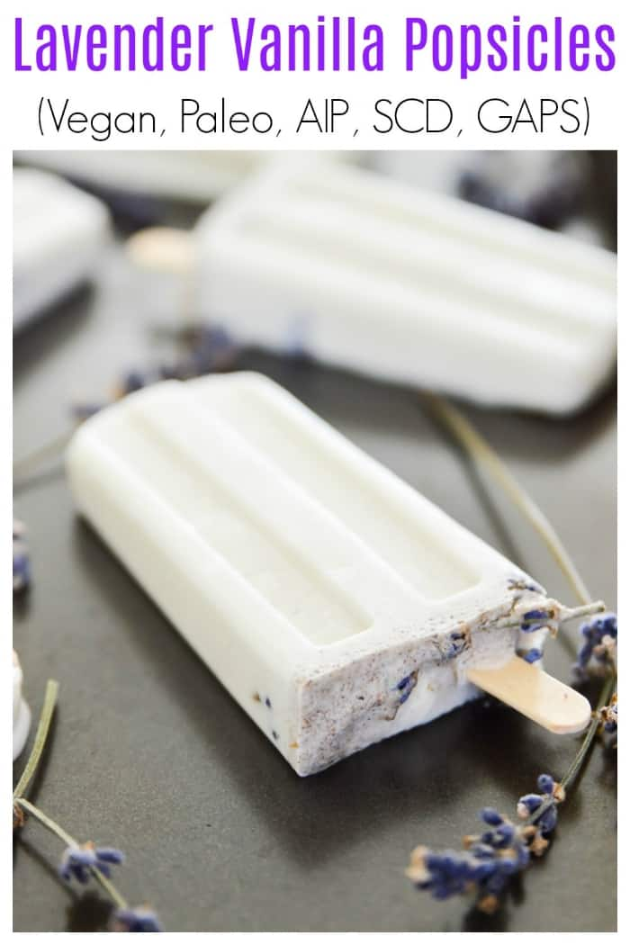 Lavender Vanilla Popsicles are the perfect summer treat. So easy to make and so, so tasty these Lavender Vanilla Popsicles are going to become your new favourite paleo dessert. When it's hot outside these Lavender Vanilla Popsicles will be the perfect way to cool off. #popsicle #vegan #lavender #paleo #dessert #vanilla #GAPS #SCD