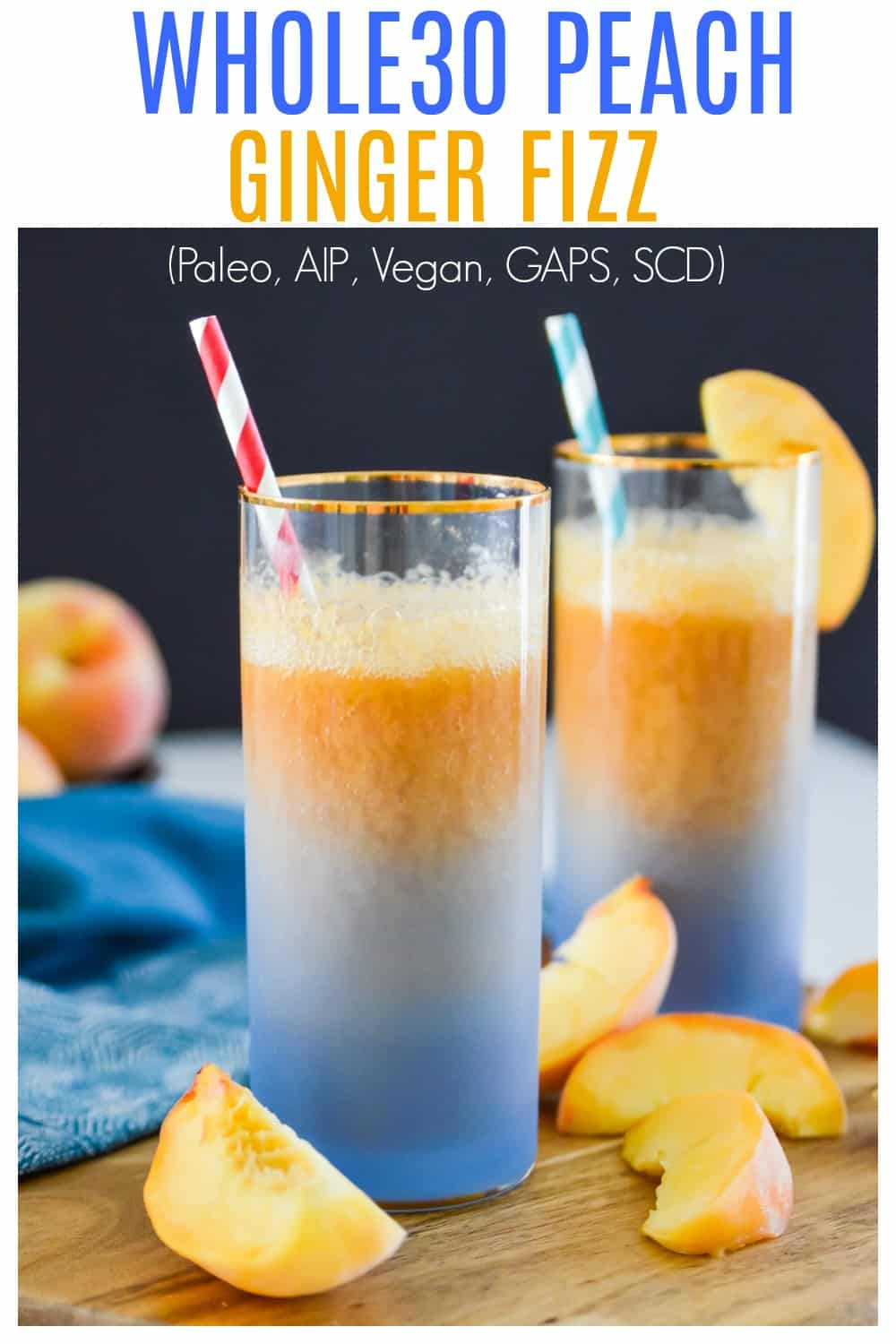 This Peach Ginger Fizz is the perfect summer drink! Made with no added sugars and only 3 ingredients you are going to love this Peach Ginger Fizz. Serve this Peach Ginger Fizz at your next party for an easy, healthy cocktail. #whole30 #paleo #cocktail #vegan #gaps #scd