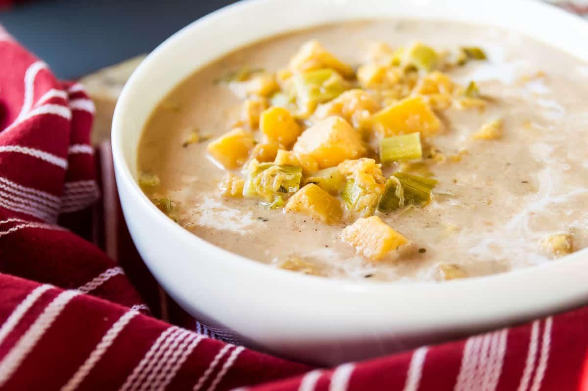 A bowl of Whole30 Coconut Squash Soup
