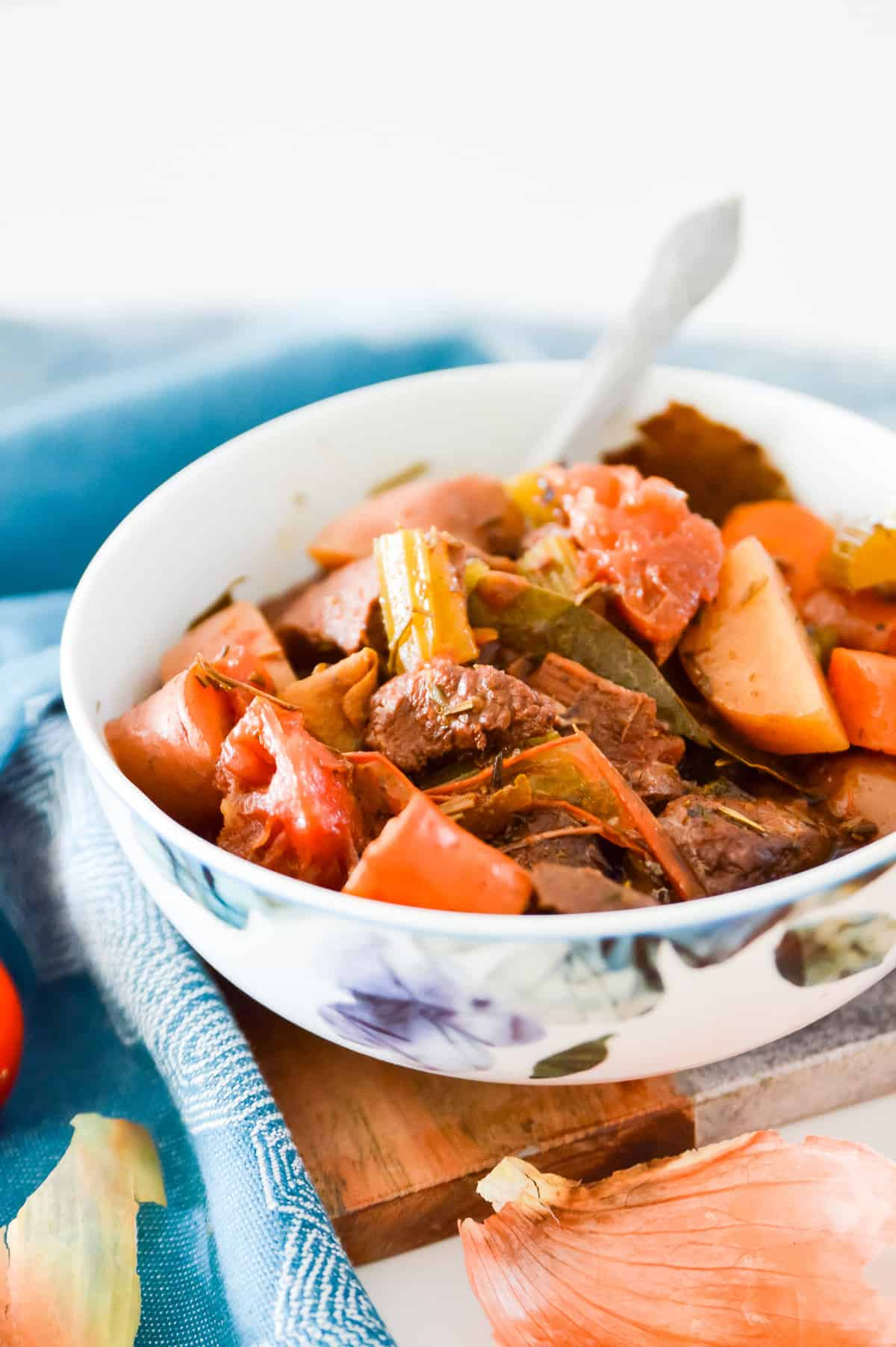 A bowl of Paleo Slow Cooker Beef Stew