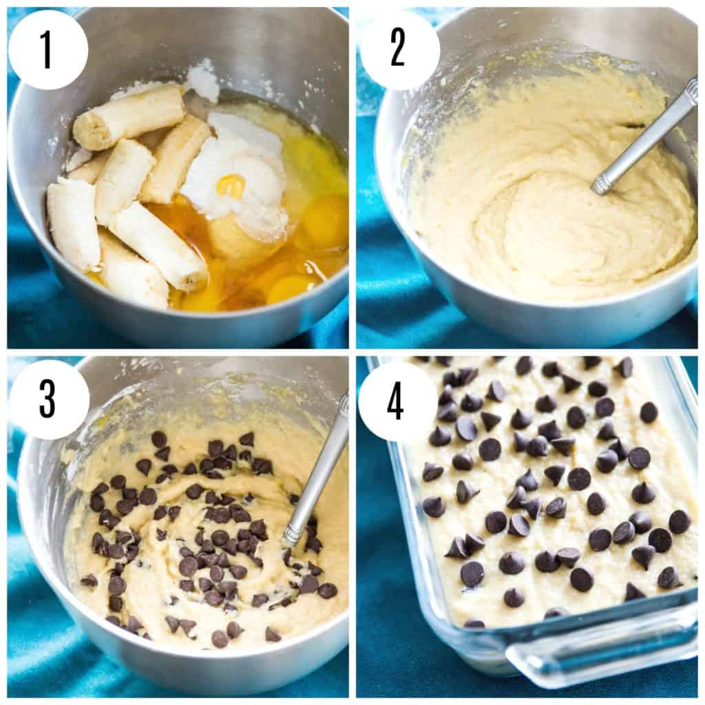 step by step directions for making gluten free chocolate chip banana bread