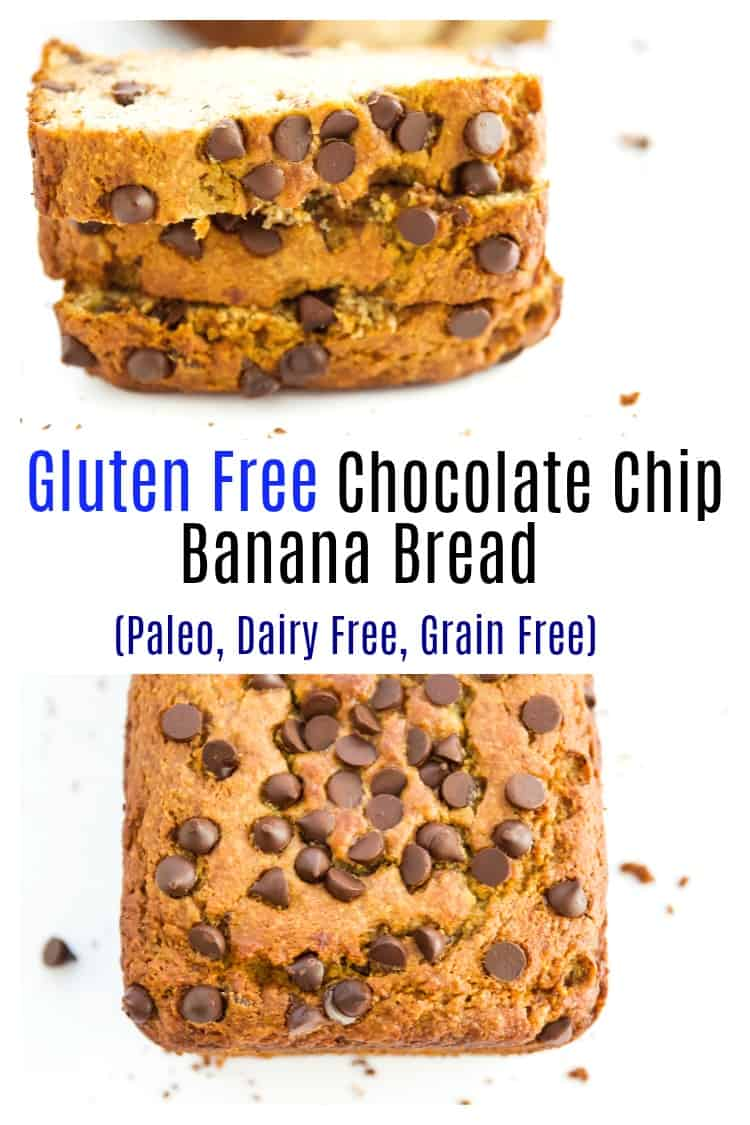 This gluten free chocolate chip banana bread is so easy to make it's going to become your new best breakfast recipe. This healthy chocolate chip banana bread is paleo, grain free and dairy free. It's moist on the inside and made with almond flour which gives it the perfect texture.  #bananabread #chocolatechip #glutenfree #paleo #healthy