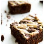 Looking for the best paleo brownie recipe? These simple and easy Dairy Free Brownies with Caramel are also gluten free and grain free. Made healthy with coconut oil, fudgy caramel and sea salt you are sure to love these homemade brownies. #brownie #paleo