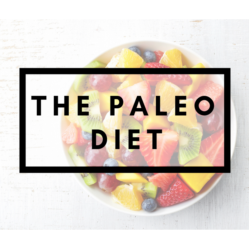 A bowl of fruit with The Paleo Diet title over top