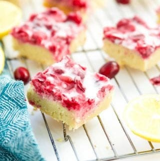 Gluten Free Lemon Bars with Cranberry (Paleo, SCD, GAPS)
