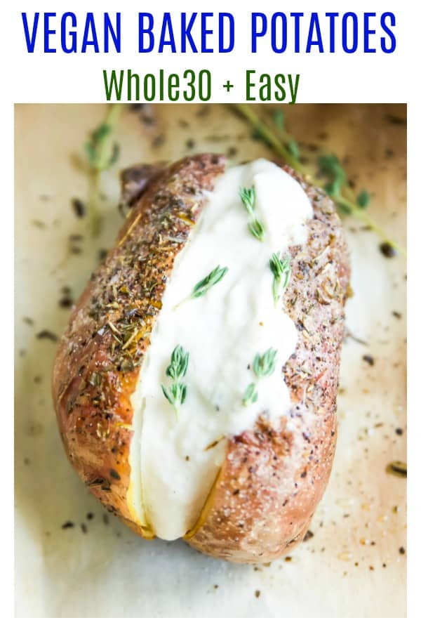 These baked potatoes with herbs are so simple and easy to make in the oven. These vegan and Whole30 baked potatoes make the perfect healthy dinner with so many topping options. #dinner #potatoes