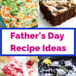 A collage of Father's Day recipe ideas including pork chops, brownies, lemon cranberry bars and an egg casserole