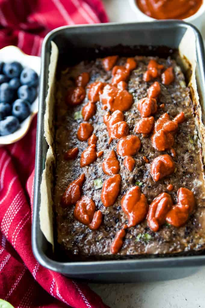 Keto meatloaf with blueberries with bbq sauce on top