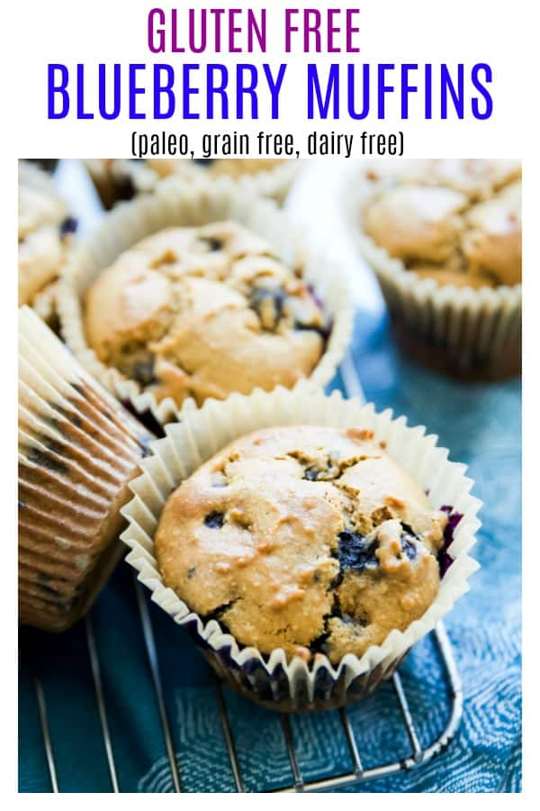 This is the best gluten free blueberry muffins recipe! They are such a simple, easy and healthy breakfast. Moist in the middle, homemade from scratch with almond flour, coconut flour, no milk, no butter, no dairy and no grains they are even paleo. #muffins #glutenfree