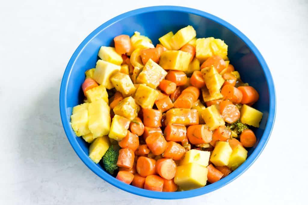 vegetables coated in teriyaki sauce