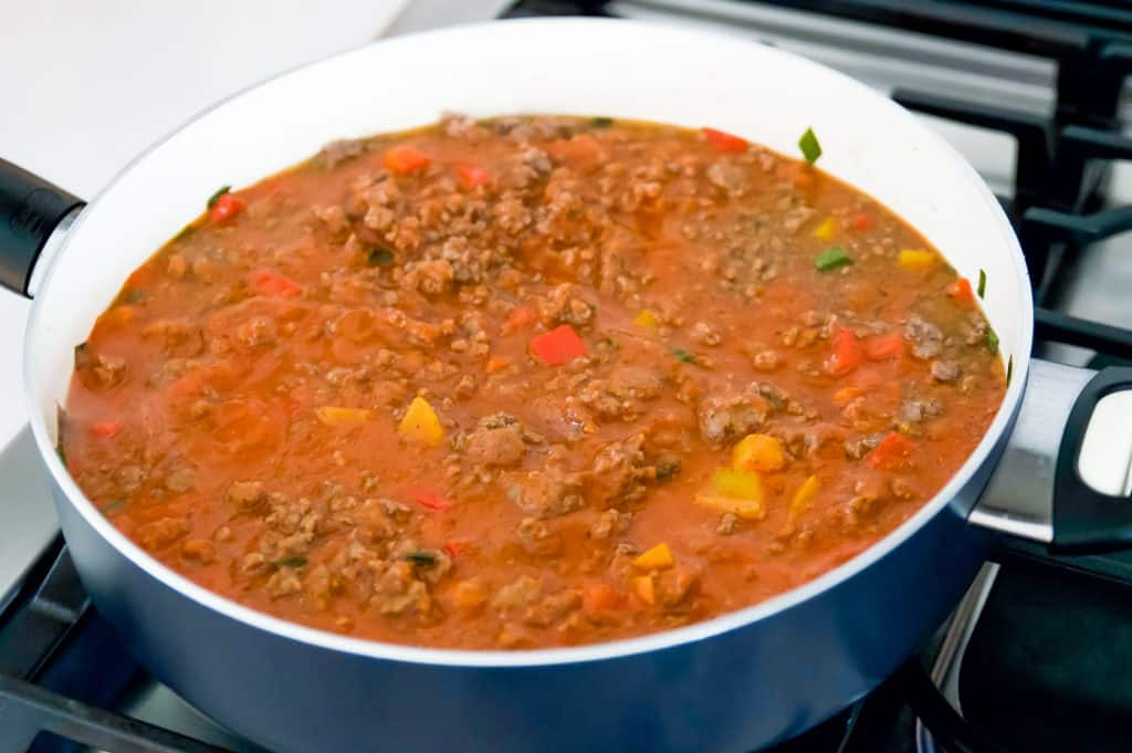 sloppy Joe sauce cooking in a pan