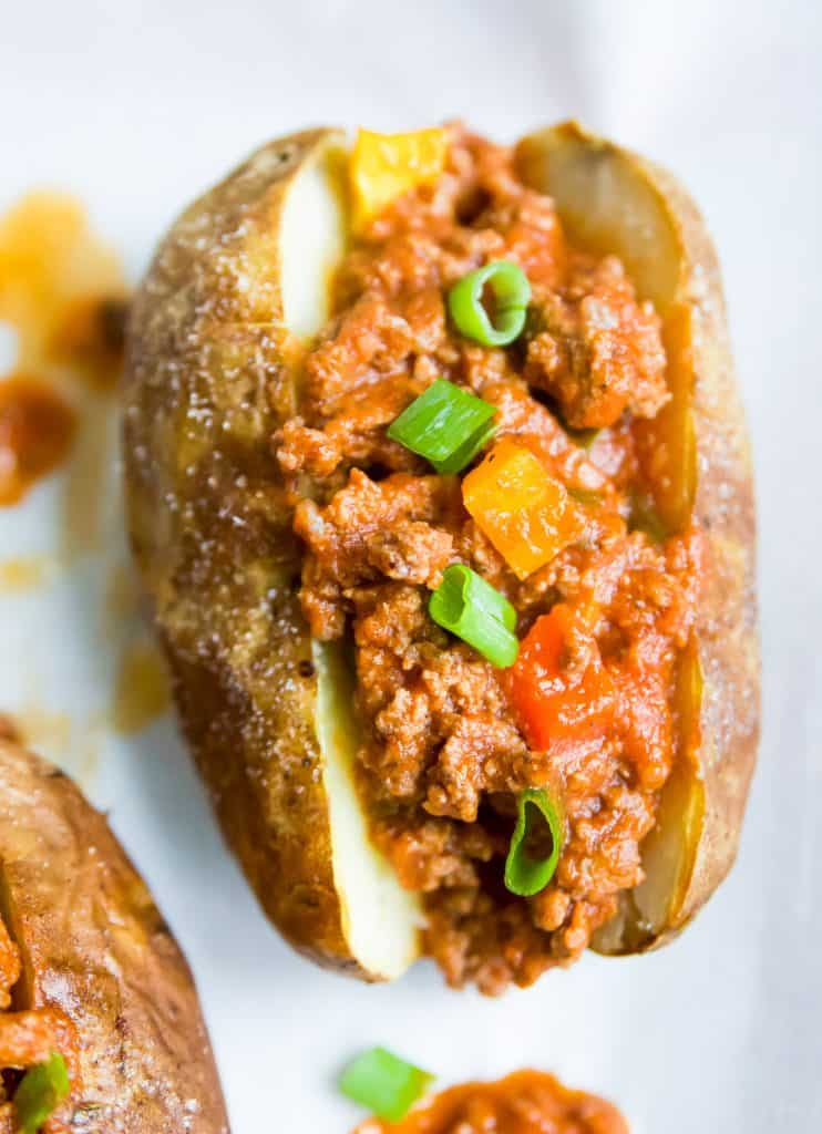 sloppy joes in a potato bun