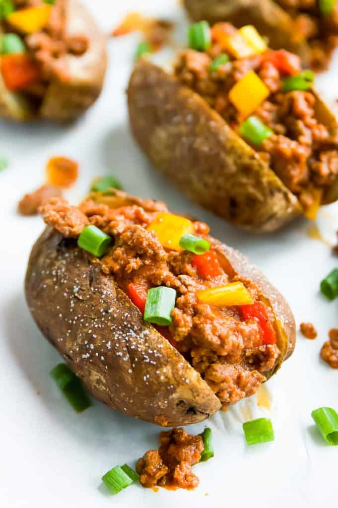 Sloppy joes in a sweet potato bun