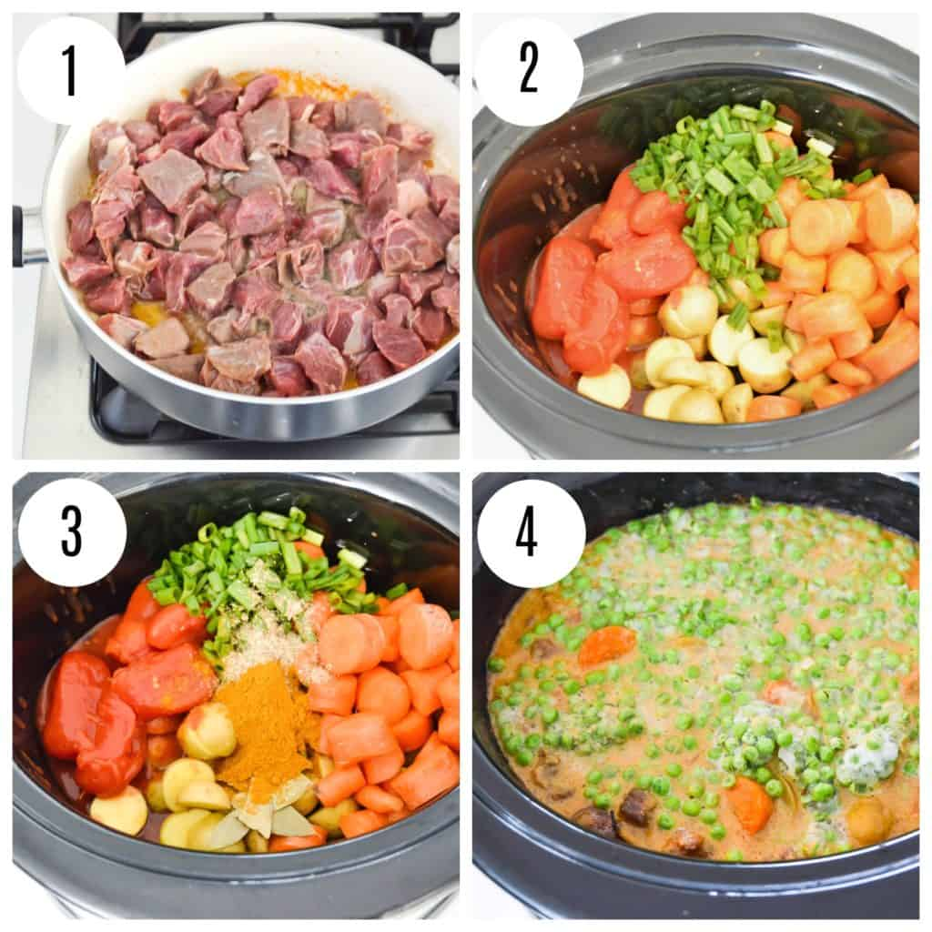 Directions for making beef curry stew with photos