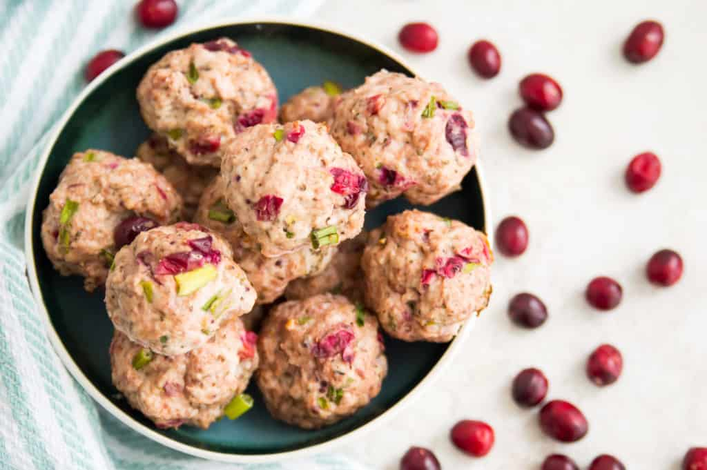 A bowl full of turkey cranberry meatballs