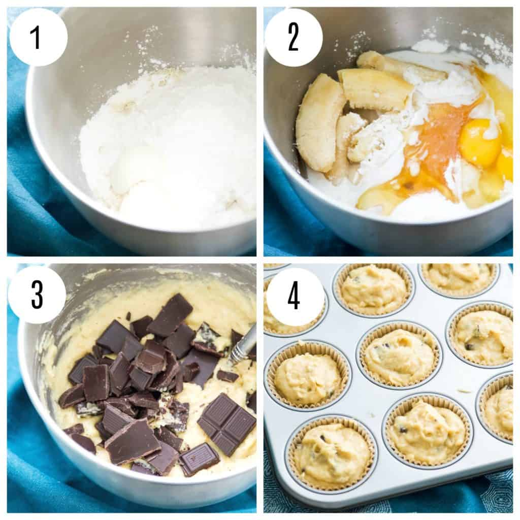 Step by step directions for making banana muffins with chocolate
