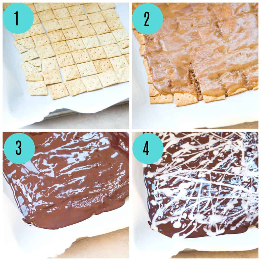 step by step directions for making Christmas crack