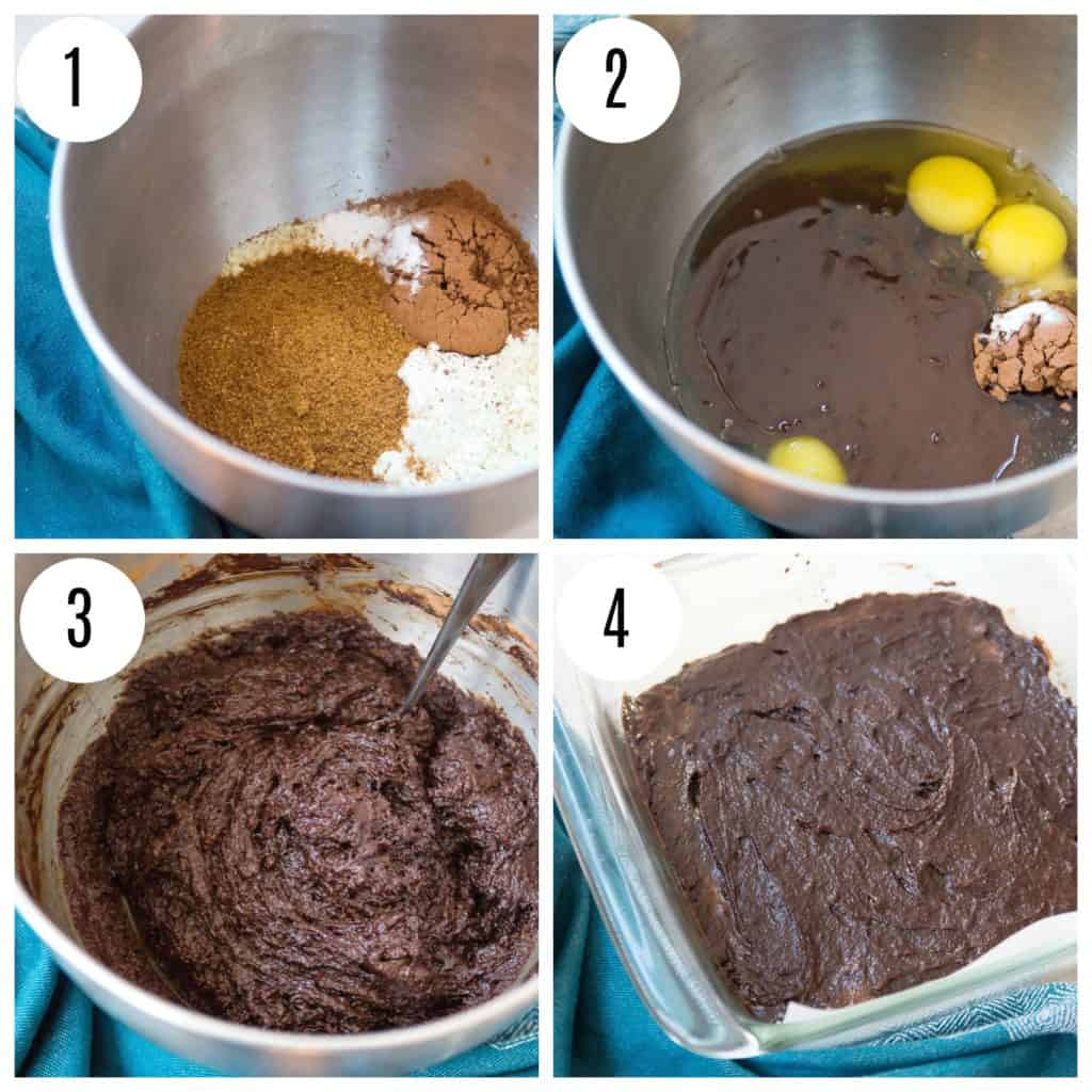 Step by step directions for making peppermint brownies