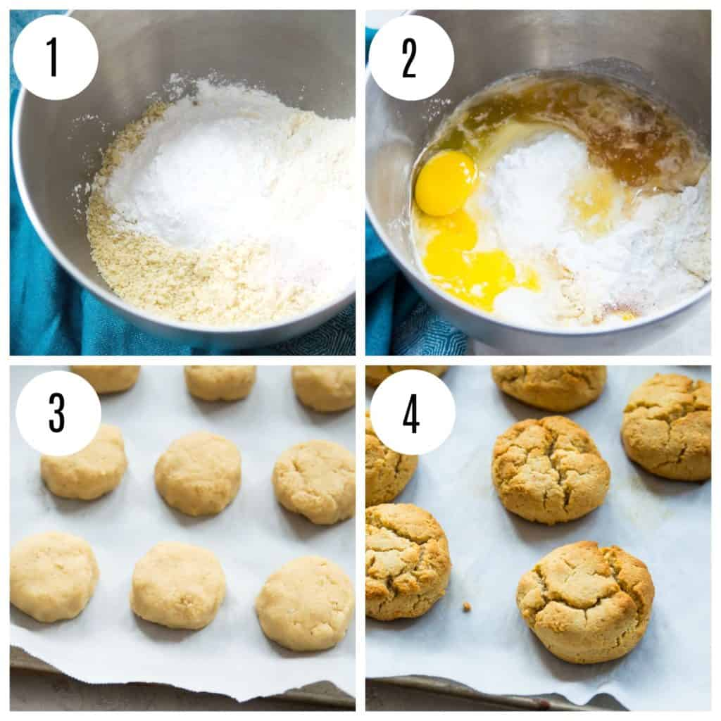 Step by step directions for making almond flour biscuits