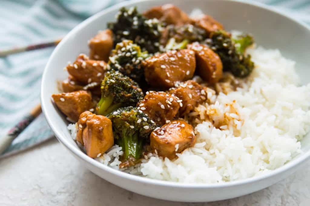 A bowl of Whole30 Teriyaki Chicken and Broccoli with rice