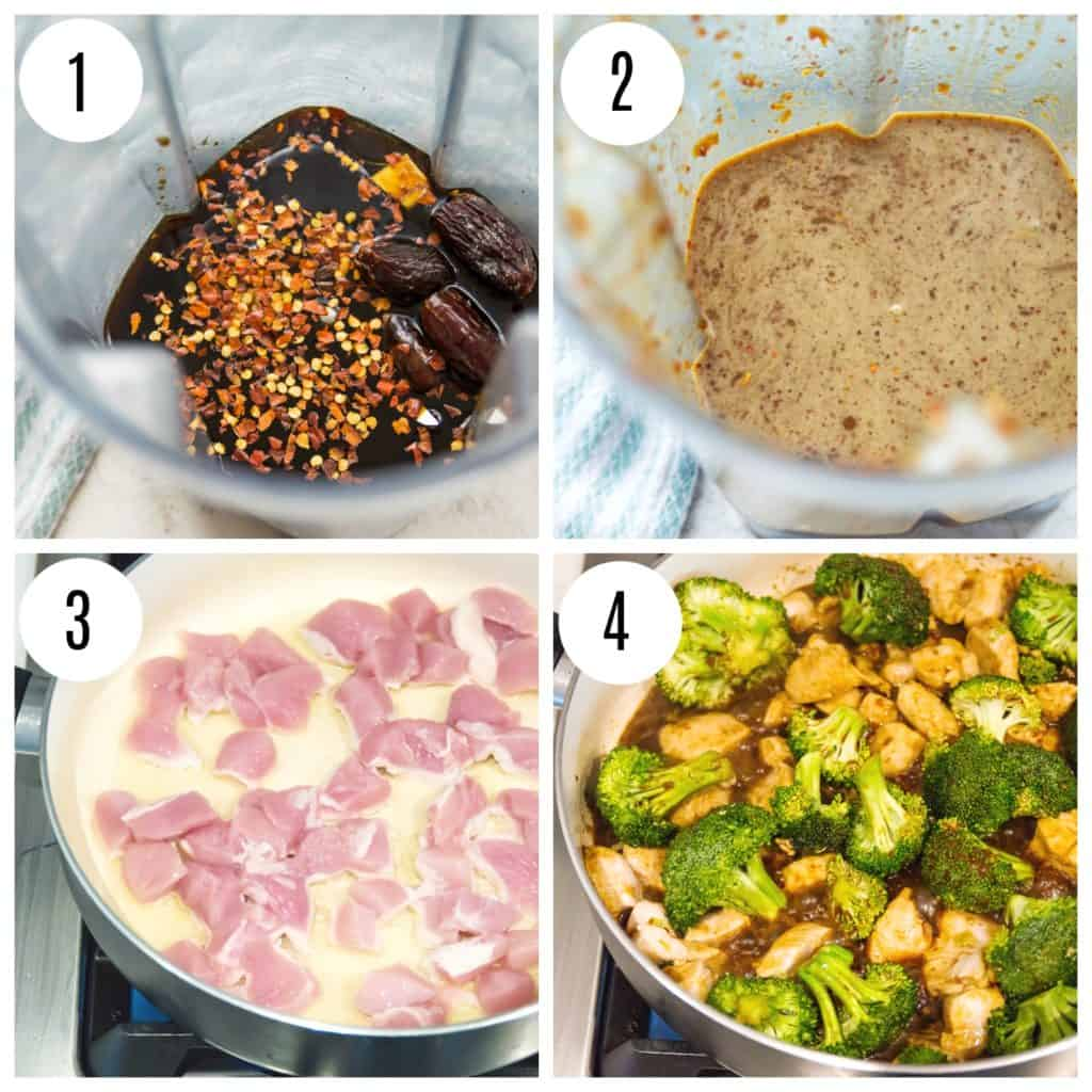 Step by step directions for making Whole30 Teriyaki chicken and broccoli